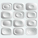 Set of white rectangular buttons  for internet Stock Image