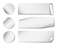 Set of white rectangular and round paper stickers Royalty Free Stock Photo