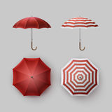 Set of White Red Striped Rain Umbrella Sunshade Royalty Free Stock Photography