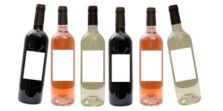 Set of white, rose, and red wine bottles Royalty Free Stock Image