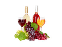 Set of white and rose wine bottles, glas and cheese, red and white grapes. Stock Photos