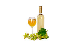 Set of white and rose wine bottles, glas and cheese, red and white grapes. Royalty Free Stock Photography