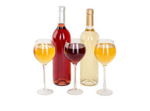 Set of white and rose wine bottles, glas. isolated on white background Stock Photos
