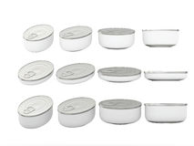 Set of white round bottom oval tin cans in various sizes, clippi. Set of white round bottom  oval  tin cans in various sizes . General can  packaging  with white Stock Photography