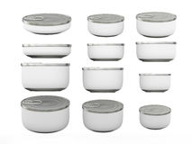 Set of white round bottom tin cans in various sizes, clipping pa. Set of white round bottom tin cans in various sizes . General can  packaging  with white blank Stock Photos