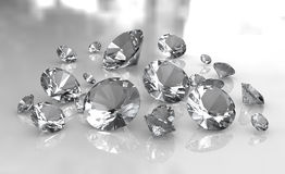 Set of white round diamonds on glossy surface Stock Images