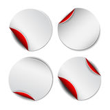 Set of white round promotional stickers with red Royalty Free Stock Photography