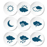 Set of white rounded stickers with dark blue weather symbols, elements of forecast Royalty Free Stock Photos