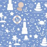 Set white sea icon on blue background. Seamless pattern. vector Royalty Free Stock Photography