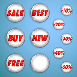 Set of white shiny buttons on sale Stock Image