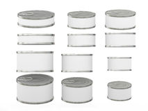 Set of white short  cylindrical tin cans in various sizes, clipp. Set of white short  cylindrical  tin cans in various sizes . General can  packaging  with white Stock Photos