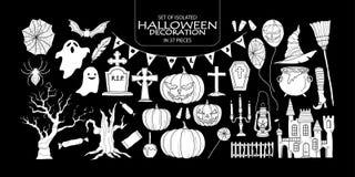 Set of white silhouette Halloween decoration. Stock Photos