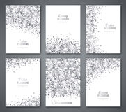 Set of White and Silver Banners. Greeting Card or Flyers Design. Grey Confetti Glitter. Vector illustration. Sequins Pattern. Lights and Sparkles. Glowing Stock Images
