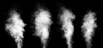 Set of white smoke on black background. stock photography