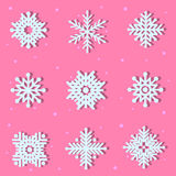 Set of white snowflake Royalty Free Stock Image