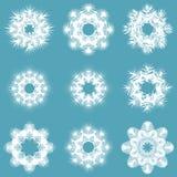 Set of white snowflakes Royalty Free Stock Image