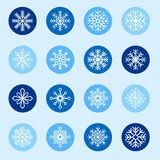 Set of white snowflakes on color backgrounds Stock Image