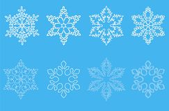 Set of snowflakes. Set of white snowflakes for design and background Royalty Free Stock Image
