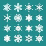 Set of white snowflakes. Isolated on green background. Vector illustration vector illustration