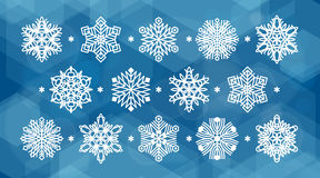 Set of white snowflakes. Silhouettes  on abstract vector background in blue colors. Flat snow icons for christmas cards, banners, wrapping paper. Winter holiday Stock Photos