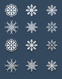 Set of white snowflakes Stock Photos