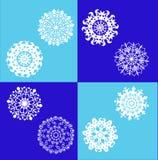 Set of white snowflakes. Royalty Free Stock Photo