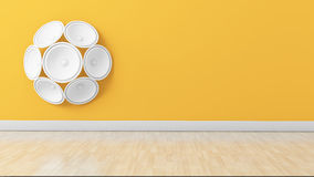 Set of white speakers on the wall Stock Photography