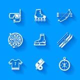 Set of white sports icons. Stock Photo