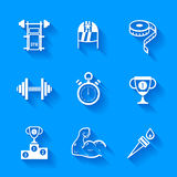 Set of white sports icons. Royalty Free Stock Images