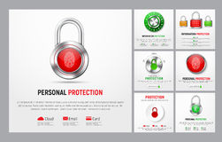 Set of white square banners to protect information. Set of square banners to protect information. Web templates with padlock, button with a fingerprint royalty free illustration