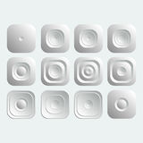 Set of white square buttons . Set of white square buttons for internet royalty free illustration