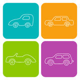 Set of 4 white square cartoon cars. Vector web and mobile transp Royalty Free Stock Photography