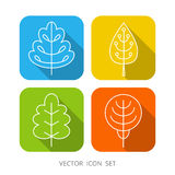 Set of 4 white square cartoon trees Stock Photo