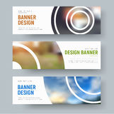 Set of white standard banners with round design elements for the Royalty Free Stock Photo