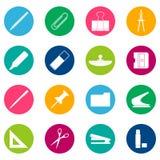 Set of white stationery icons on color background, illustration Royalty Free Stock Photo
