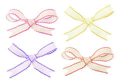 Set of white stitched ribbons Stock Images