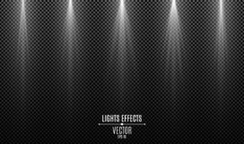 Set of white stylish lights effects isolated on a dark transparent background. White rays. Lamp beams. Neon glowing. Backlight. Vector illustration. EPS 10 vector illustration