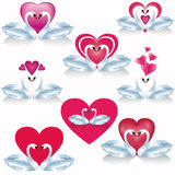 Set of white swans with hearts, vector Royalty Free Stock Photo