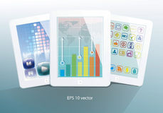 Set of white tablet computers Stock Photography