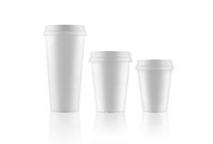 Set of white take-out coffee cups Stock Image