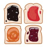 Set of white toast bread. vector stock illustration