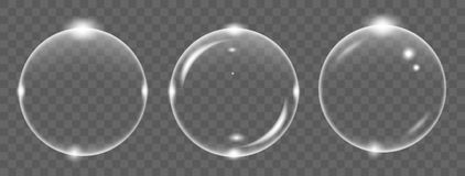 Set of white transparent soap air bubble, isolated on black background. Vector illustration vector illustration