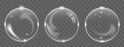 Set of white transparent soap air bubble, isolated on black background. Vector illustration royalty free illustration