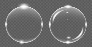 Set of white transparent soap air bubble, isolated on black background. Vector illustration stock illustration