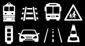 Set white transport isolated icons on black background Royalty Free Stock Photography