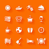 Set of white travel icons. Vector travel icons in flat simple style Stock Photography