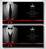 Set of white tuxedo business card templates with men`s suits and black tie Stock Photo
