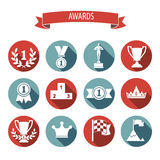 Set of white vector award success and victory flat icons on colo Royalty Free Stock Photography
