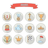 Set of white vector award success and victory flat icons on colo Stock Image