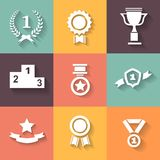 Set of white vector award  success and victory Stock Images